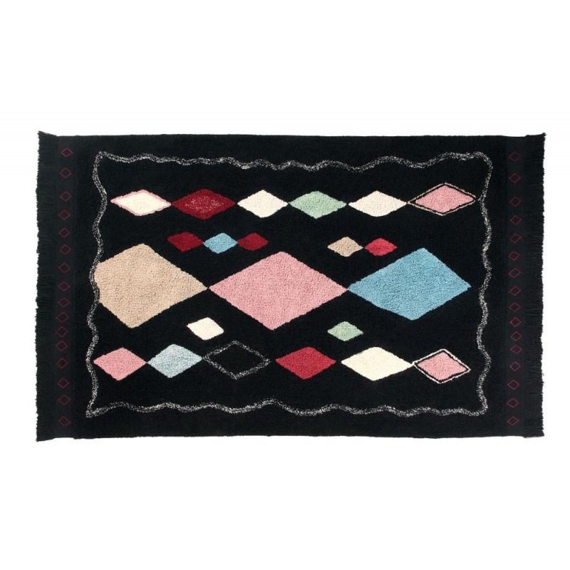 Czarny dywan w kolorowe romby do prania 140x200 Lorena Canals