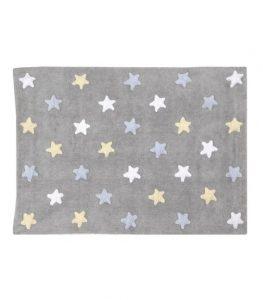 Szary, prostokątny dywan w gwiazdki do prania 120x160 Estrellas Lorena Canals
