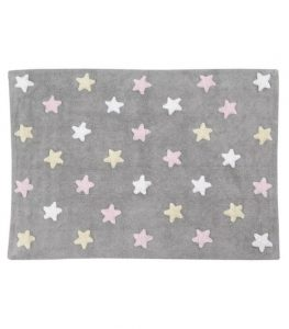 C-ST-P Szary, prostokątny dywan w różowe gwiazdki do prania