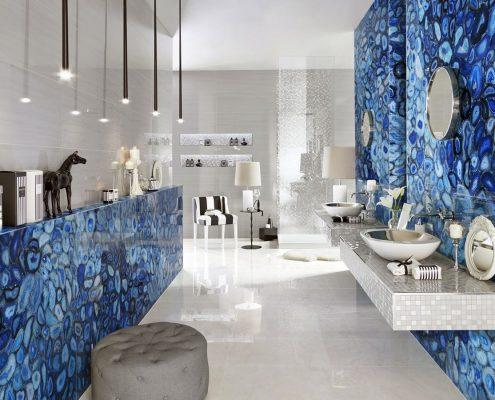 niebieska łazienka w kamieniu
