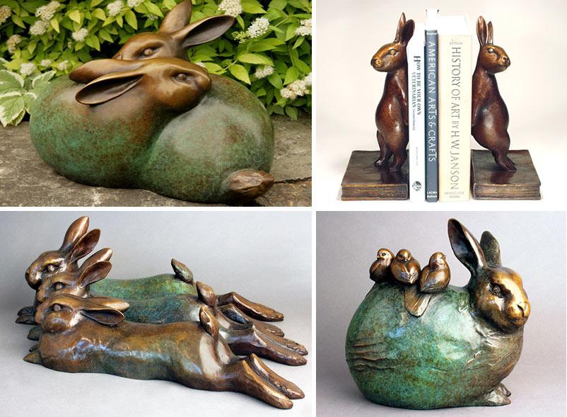 Zające - rzeźby Goergii Gerber