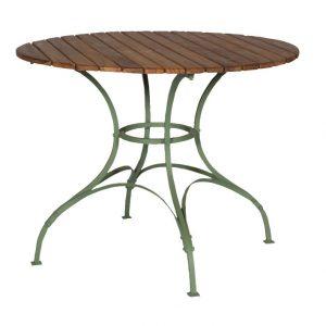 Zewnętrzny stół okrągły z drewnianym blatem sa290
