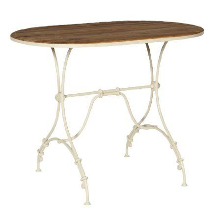 Zewnętrzny stół owalny z drewnianym blatem sa293