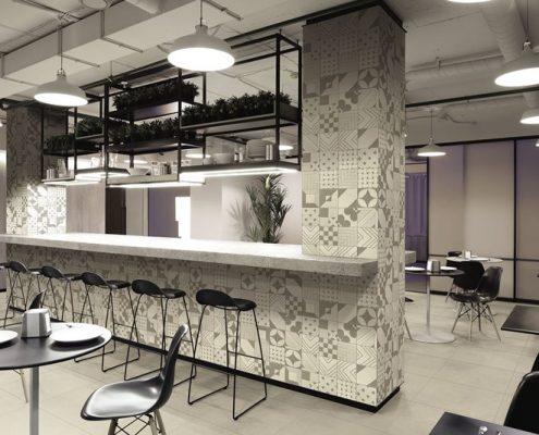 Aranżacja industrialnej restauracji Tangle