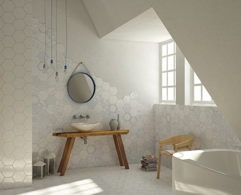 Biała łazienka na poddaszu