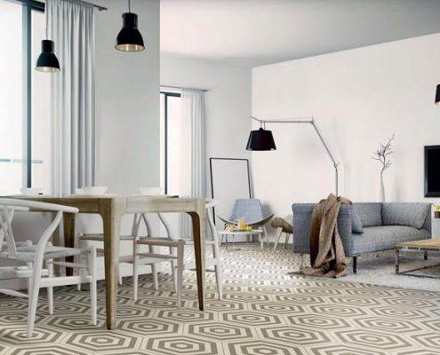 Heksagonalna podłoga w salonie z jadalnią 1
