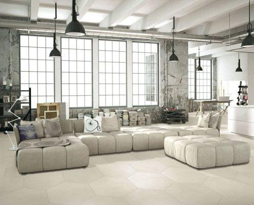 Industrialny salon z heksagonalną podłogą Basic