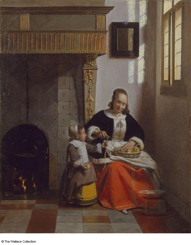 Kobieta obierająca jabłko
