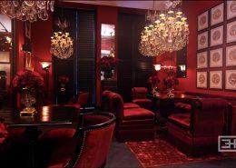 Odważna aranżacja restauracji w czerwieni