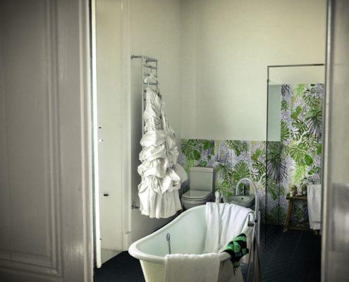 Płytki ścienne z motywem roślinnym w łazience