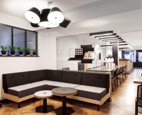 Wystrój nowoczesnej kawiarni Craft
