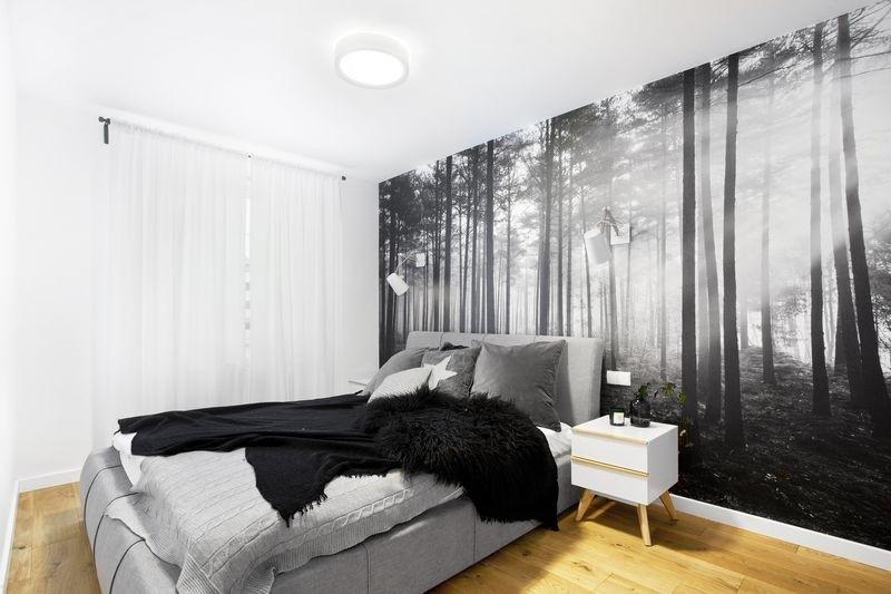 Czarno-biała fototapeta w sypialnia