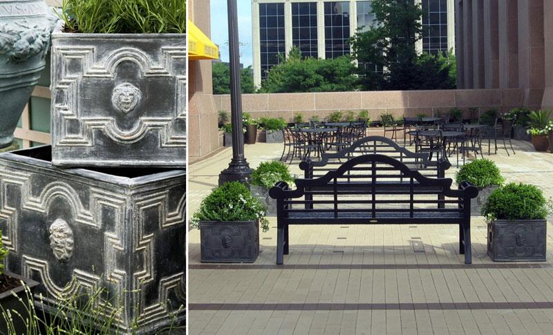 Kwadratowe doniczki przestrzenie publiczne