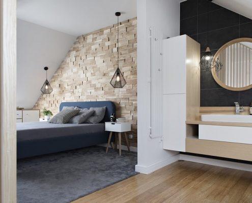 Nowoczesna sypialnia z łazienką na poddaszu