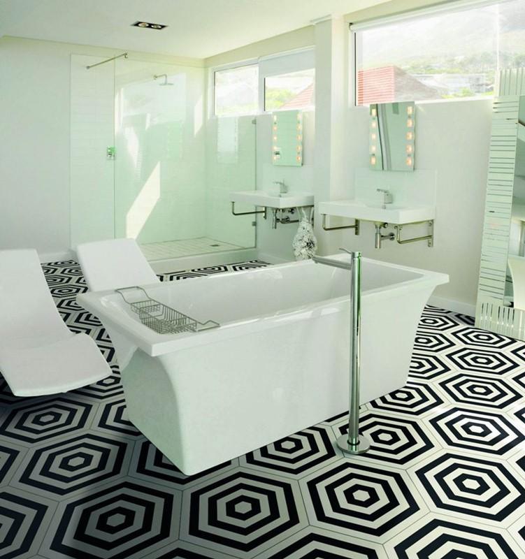 Nowoczesne płytki do łazienki geometryczne wzory