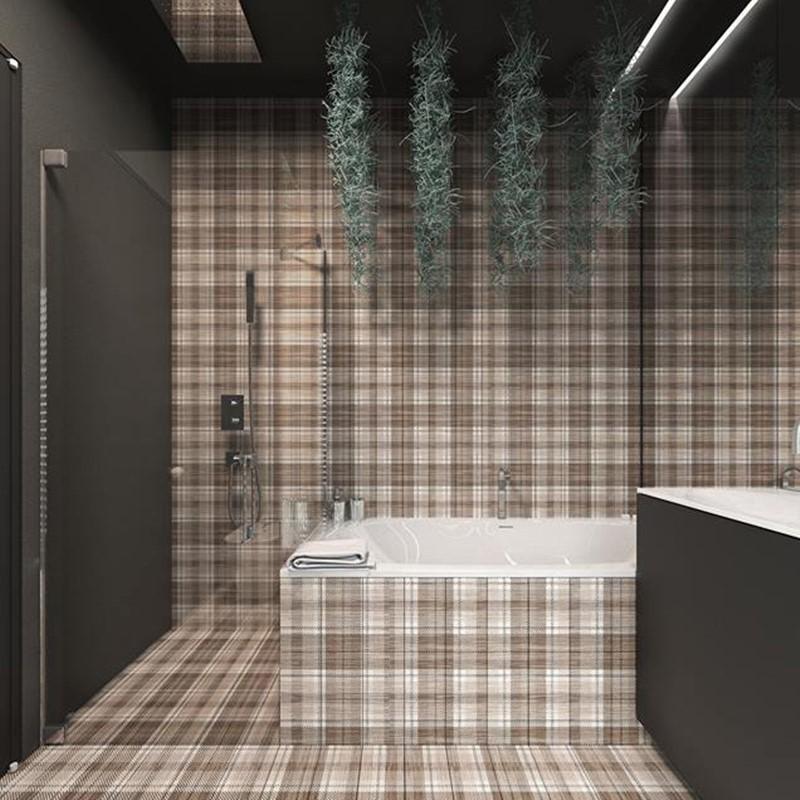 Nowoczesne płytki do łazienki w kratę