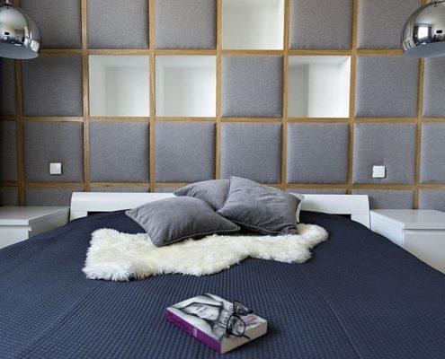 Oryginalne wezgłowie łóżka z drewna i tapicerki
