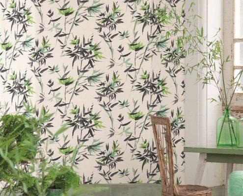 Pomysł na ścianę w salonie - tapeta orientalna
