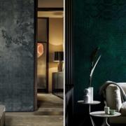 Pomysł na ścianę w salonie tapeta Art and Deco