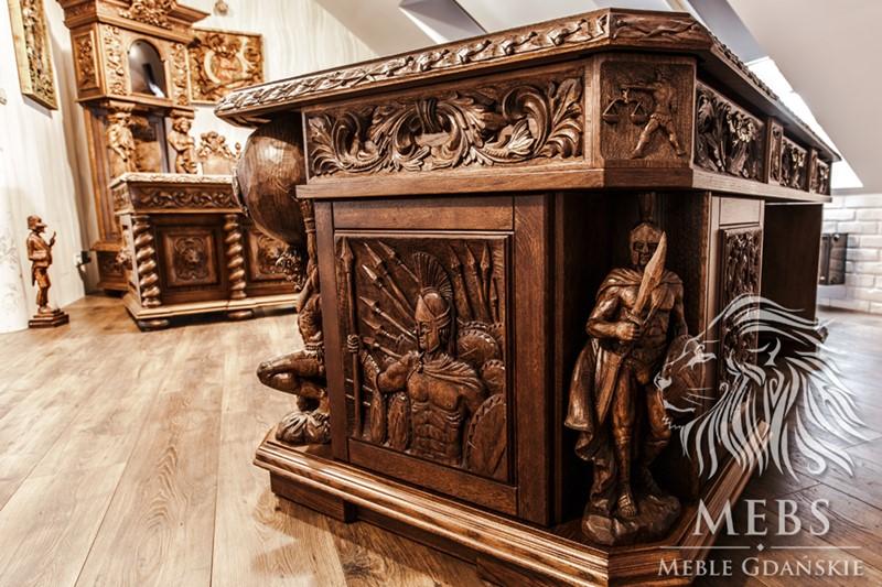 meble rzeźbione meble rzeźbione BIURKO DĘBOWE