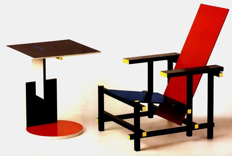 Designerskie krzesła Czerwono-niebieskie krzesło Gerrita Rietvelda w stylu De Stijl