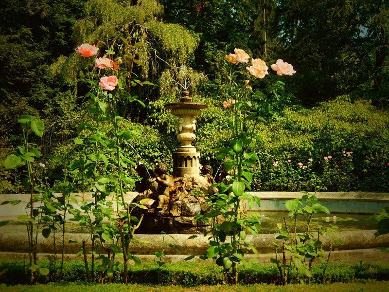 Fontanna z kamienia w klasycznym stylu