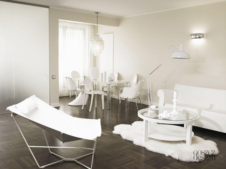 Jaki dywan do ciemnej podłogi biel