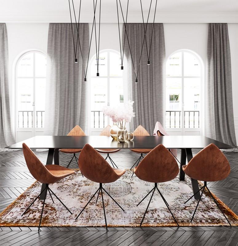 Jaki dywan do ciemnej podłogi nowoczesna jadalnia
