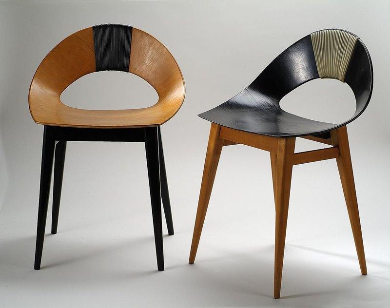 Designerskie krzesła krzesła ze sklejki Muszelka - Teresa Kruszewska