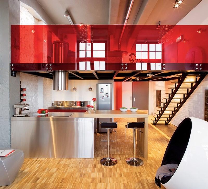 Kolorowe wnętrza loft