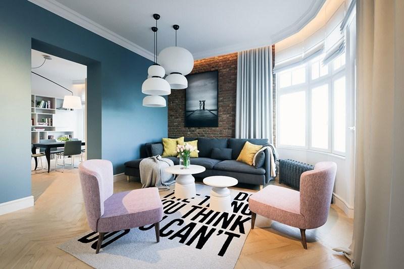Kolorowe wnętrza mały salon