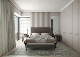 Łazienka z sypialnią oddzielona szklaną taflą