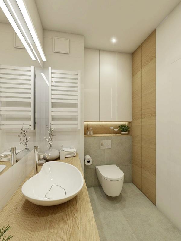 Biel i drewno w nowoczesnej łazience z prysznicem 2 ...