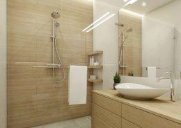 Biel i drewno w nowoczesnej łazience z prysznicem