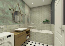 Eklektyczna łazienka z motywem roślinnym