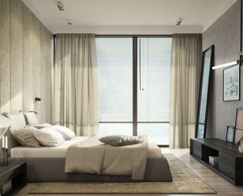 Nastrojowa sypialnia w naturalnych kolorach