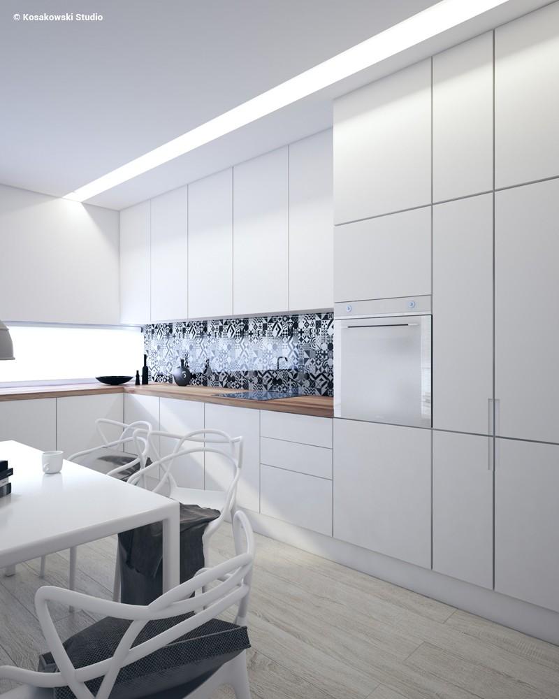 Biała, wąska kuchnia w minimalistycznym stylu