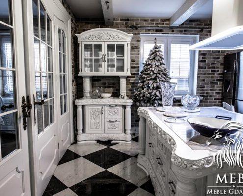 Meble artystyczne MebS Kuchnia stylowa biała