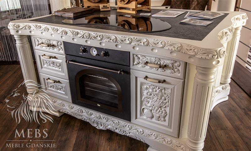 Meble artystyczne MebS stylowa wyspa kuchenna biała