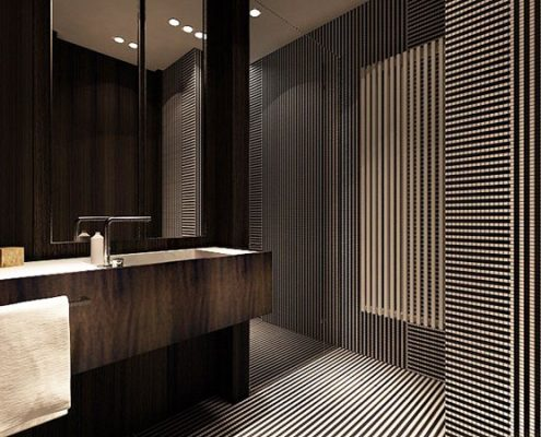 Elegancka łazienka w drewnie i drobnych paskach