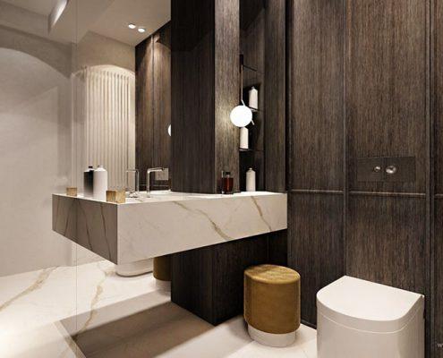 Marmur zestawiony z drewnem - łazienka