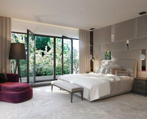 Nastrojowa elegancja w beżowej sypialni