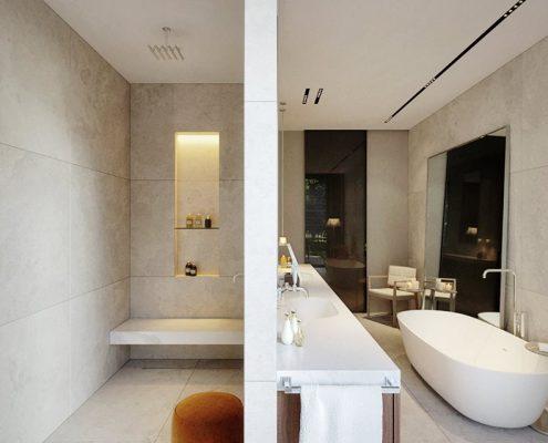 Łazienka z wanną i prysznicem w luksusowym wydaniu