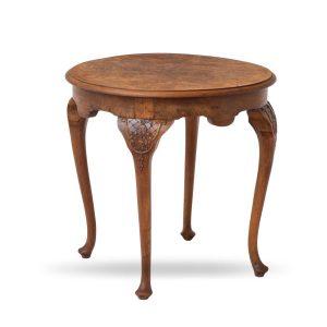 Angielski, okrągły stół - rzeźbiony orzech 70 cm