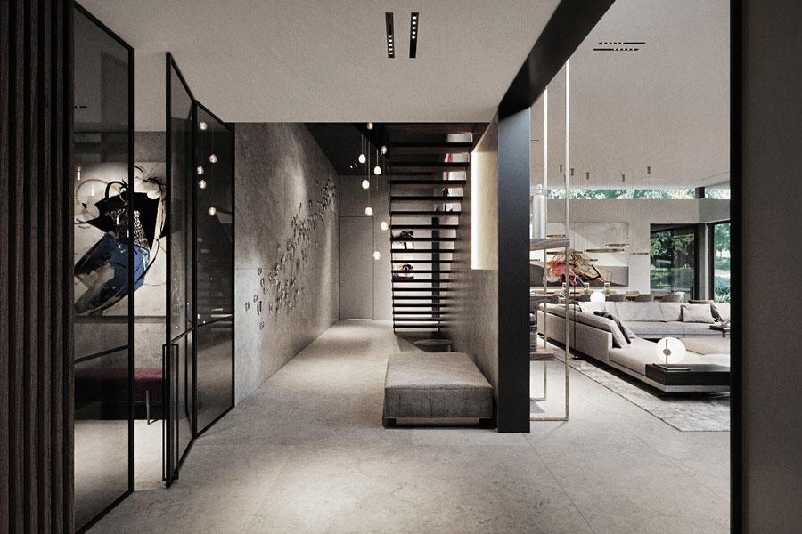 Duży hol z nowoczesną klatką schodową