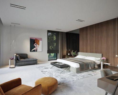 Elegancka sypialnia z panoramicznym widokiem na ogród