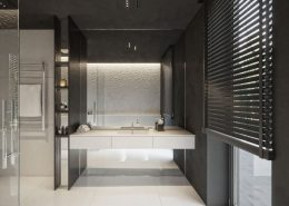 Grafitowo-biała łazienka z natryskiem