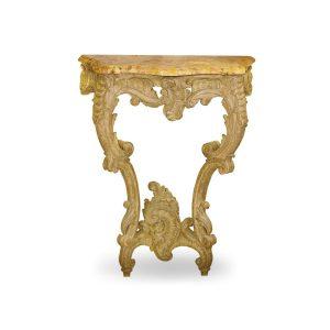 Klasyczna, rzeźbiona konsola dębowa w stylu francuskim