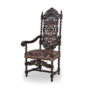 Klasyczne rzeźbione krzesło stylizowane 19 wiek styl Jacobean