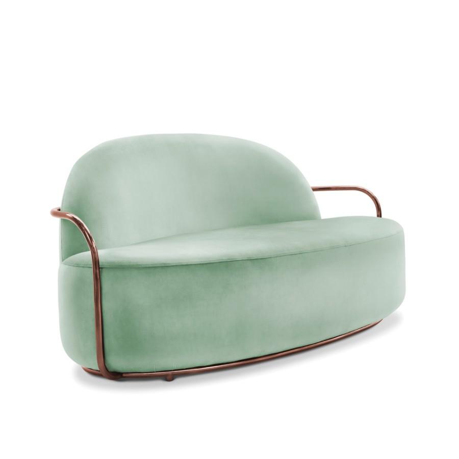 Minimalistyczna sofa Orion Scarlet Splendour miętowo-miedziany